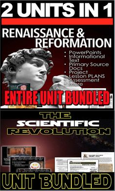 Renaissance/Scientific Revolution Unit Bundled 2 Units in 1 History Lesson Plans, Social Studies Lesson Plans, World History Lessons, American History Lessons, Social Studies Classroom, Study History, Teaching Social Studies, Teaching History, Teaching Resources