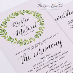 This package includes: • 2 ready-for-print templates to create the 4x9 wedding program (up to 4x11 max for programs requiring more space for text)