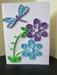 Quilled Purple and Blue Flowers with Dragonfly Greeting Card
