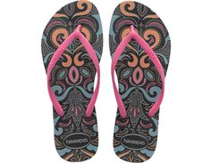 <p>The Slim Lace features a delicate lace print on our signature textured footbed for style and comfort. A slim matte strap with a tonal Havaianas logo finishes the look.</p><ul>  <li>Thong style</li>  <li>Cushioned footbed with textured rice pattern and rubber flip flop sole</li>  <li>Made in Brazil</li></ul>