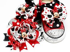 Sparkly Red Converse with Minnie Mouse Removable by tashasbowtique, $74.99
