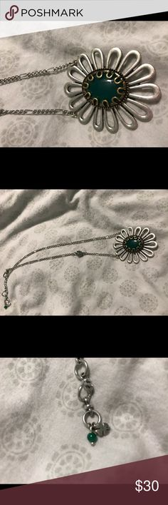 Lucky Brand Necklace Fun floral Lucky brand necklace with jade green stone.....excellent condition....NWOT Lucky Brand Jewelry Necklaces