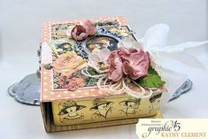 how to transform a simple box of truffles into a Valentine's Day worthy gift. This chocolate book box looks like it took hours to create.but it can be done in under an hour. By Kathy Clement Altered Boxes, Altered Art, Cigar Box Crafts, Truffle Boxes, Paper Art, Paper Crafts, Diy Gift Box, Graphic 45, Love Is Sweet