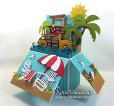 Summer is here and I had so much fun making this beach pop up card with all of these iconic beach images. I used the new Rubbernecker Lifeguard Tower, Beach Umbrellas, Woody Die and Palm Trees… Card In A Box, Pop Up Box Cards, 3d Cards, Scrapbook Expo, Scrapbooking, Handmade Greetings, Greeting Cards Handmade, Pop Up Greeting Cards, Fancy Fold Cards