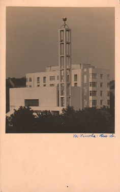 Husův sbor na Vinohradech (Hussite Assembly in Vinohrady) (Arch. Functionalism, Modernism, Willis Tower, Arches, Prague, Czech Republic, Modern Architecture, Building, Photography