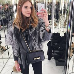 """Chiara Ferragni carrying the Valentino """"Rockstud"""" Vavavoom bag FALL-WINTER 2014/2015 COLLECTIONS"""
