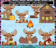 Great Outdoors Moose Digital Clip Art Set  INSTANT by CapZone