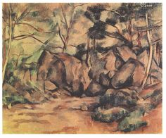 Woodland with Boulders, 1893 by Paul Cezanne, Final period. Post-Impressionism. landscape. Kunsthaus Zürich, Zürich, Switzerland