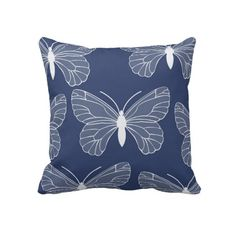 Blue and White Butterflies Pillows