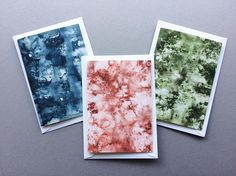 3 pack of Green, Blue & Red/Orange Abstract Watercolour Cards - A6 Charity Greetings Cards