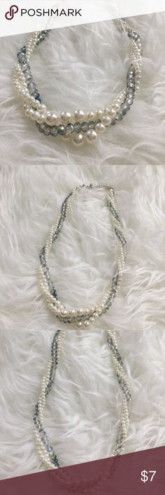 Forever 21 blue and pearl beaded necklace. Forever 21 blue and pearl beaded necklace. ***never worn**** Forever 21 Jewelry Necklaces
