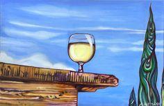 Öl auf Leinwand, 30 cm x 45 cm. Weißweinglas auf Natursteinmauer.