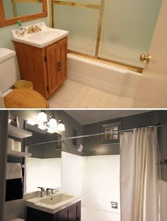Before and after on cheap bathroom upgrade
