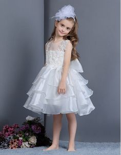 7e37669a1d7 Find cute ball gown illusion tulle neckline knee length layered skirt organza  flower girl dresses with appliques and bowknot