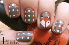 fox face nail art and gray orange and white polka dot manicure Garra, Uñas Jamberry, Cute Nails, Pretty Nails, Funky Nails, Fox Nails, Polka Dot Nails, Polka Dots, Animal Nail Art