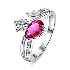 Merthus 925 Sterling Silver Rope Band Created Ruby Costume Jewelry Right Hand Ring for Women