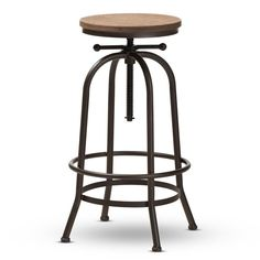 Baxton Studio Aline Vintage Rustic Industrial Style Wood and Rust-Finished Steel Adjustable Swivel Bar Stool Affordable modern furniture in Chicago, classic bar furniture, modern stools, cheap bar stools Brown Bar Stools, Metal Bar Stools, Swivel Bar Stools, Rustic Stools, Modern Stools, Kitchen Stools, Counter Stools, Bar Counter, Backless Bar Stools