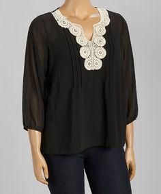 Look at this #zulilyfind! Black & White Crochet Notch Neck Top - Plus by C.O.C. #zulilyfinds