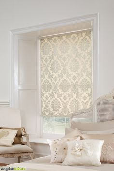 luxury cream damask blinds in a white bedroom with a shabby chic bed - Home Decor Curtains