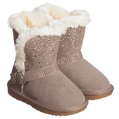 Liu Jo Girls Beige Sheepskin Boots with Diamante at Childrensalon.com