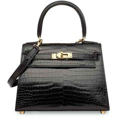 A SHINY BLACK POROSUS CROCODILE SELLIER MINI KELLY 20 WITH GOLD... ❤ liked on Polyvore featuring bags, handbags, man bag, croco handbags, mini bag, crocodile embossed handbags and mini handbags