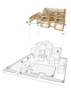 Architectural line drawing render - Stick-build house model - Elevation perspective