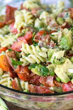 Avocado Pasta Salad - Fresh juicy tomatoes, crisp bacon and creamy avocados are tossed in a beautifully creamy dressing. This pasta salad uses avocados in place of mayonnaise for a dressing that is rich and creamy yet loaded with the benefits of avocado! Best Pasta Salad, Pasta Salad Recipes, Avocado Recipes, Healthy Recipes, Cucumber Avocado Salad, Avocado Pasta, Bacon Avocado, Avocado Dressing, Salad Dressing