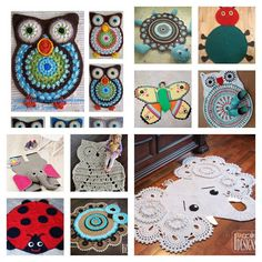 Do you want to make a cute addition to brighten up your kids' room? These cute rugs are fascinating for most kids and they bring an element of fun and originality to a baby's nursery, or to a child's room. If you want to crochet one of these, then head … Crochet Carpet, Crochet Home, Crochet For Kids, Crochet Baby, Crocheted Owls, Crochet Rug Patterns, Crochet Motif, Crochet Rugs, Owl Rug