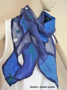 Filzschal - gefilzter Schal aus Merinowolle und Seide von Filzhexe auf Etsy