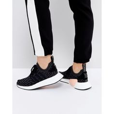 adidas Originals NMD R2 Trainers In Black ($195) ❤ liked on Polyvore featuring shoes, sneakers, black, high top sneakers, adidas sneakers, adidas high tops, black lace up shoes and black hi top sneakers
