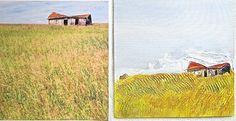 """Canadian Prairie"" Acrylic/Mixed-media 18cm x 18cm (on the right/photo: author unknown) © Alicia M B Ballard"