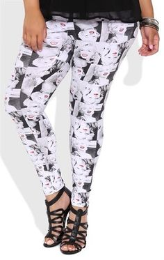 Deb Shops Plus Size Leggings with Marilyn Monroe Print