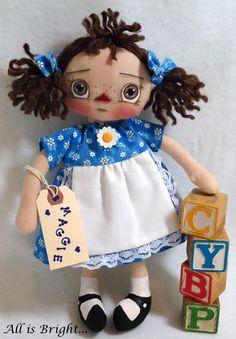 Raggedy Doll  Maggie  Cloth Doll by Allisbright on Etsy