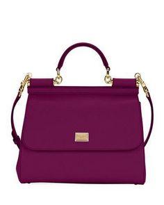 Dolce & Gabbana Sicily Medium Calf Leather Satchel Bag, ladies handbags leather handbags and purses Popular Handbags, Cute Handbags, Cheap Handbags, Black Handbags, Purses And Handbags, Leather Handbags, Ladies Handbags, Spring Handbags, Spring Bags