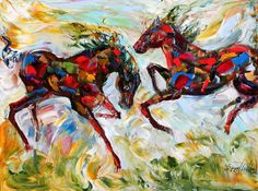 Original Equine Horse palette knife painting in oil by Karensfineart