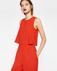 Zara.com | Click to shop this elegant and radiant red crepe jumpsuit from @zara