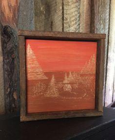 Autumn Cabin Art, Rustic Home Decor, Orange, Rust, Landscape Art, Tree, Lodge, Thanksgiving, Fall Mantle Art, Mantel, Engraved Wood