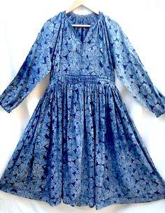 Rare Boho chic Organic Indigo Lotus pad AnokhiHand block print Indian cotton Nomad Gypsy style Maxi Dress