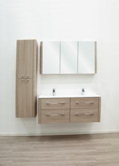Badkamermeubel ASUN  - vintage nature  - keramische wastafel  - spiegelkast - meer modellen in onze showroom in Ninove http://www.zelfbouwmarkt.be/assortiment/badkamers/badkamermeubels/1001