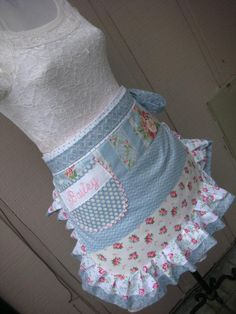 Aprons Womens Aprons Blue and Pink Rose Aprons Pink