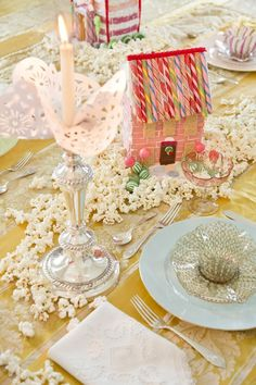 Visions of Sugarplums via Rebecca Gardner - The Glam Pad What Is Christmas, Xmas, Christmas Table Settings, Making Waves, Tablescapes, Entertaining, Candles, Table Decorations, Creative