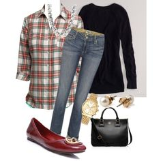 """Plaid and denim"" by cupkatesmom on Polyvore"