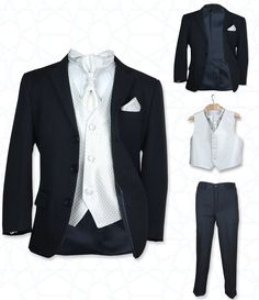 SIRRI Jungen 5 TEILE Formell Hochzeit Anzüge, Elfenbein Krawatte Abiball Seite Jungen Anzug - Schwarz & Creme, 116