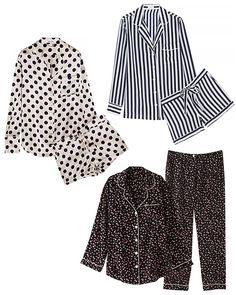 pajama sets from: Olivia von Halle; and Steven Alan Cute Pajama Sets, Cute Pajamas, Olivia Von Halle, Pajama Pattern, Black And White Colour, How To Feel Beautiful, Boyfriend Jeans, Sexy Lingerie, Lounge Wear