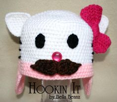 Hello Kitty Inspired Hat with Moustache