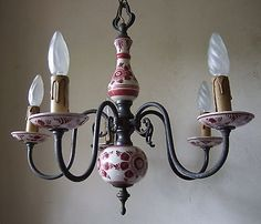 CLASSIC-ANTIQUE-FRENCH-PEWTER-AND-DELFT-CERAMIC-FIVE-BRANCH-CHANDELIER