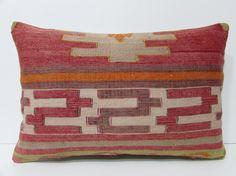 kilim lumbar pillow 16x24 organic decorative pillow bohemian pillow case extra large pillow turkish pillow cover ethnic throw pillow 22281