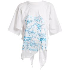 Charles Jeffrey LOVERBOY Asymmetric-hem graphic-print cotton T-shirt (€160) ❤ liked on Polyvore featuring tops, t-shirts, cotton t shirts, graphic t shirts, white cotton t shirts, graphic tees and print t shirts