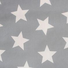 Baumwolle rein - Stoff Maxisterne/Sterne groß grau/weiß, Baumwolle - toll für Tipi