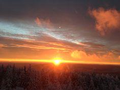 Sonnenaufgang am 10.12.2014 auf dem Schliffkopf, 1025m über dem Alltag an der Schwarzwaldhochstraße zwischen Freudenstadt und Baden Baden